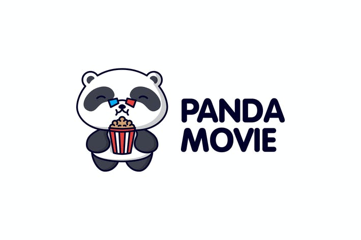 Thumbnail for Cartoon Panda Wearing 3D Glasses with Popcorn Logo