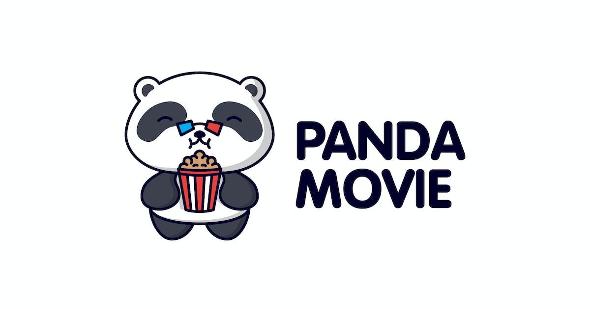 Download Cartoon Panda Wearing 3D Glasses with Popcorn Logo by Suhandi