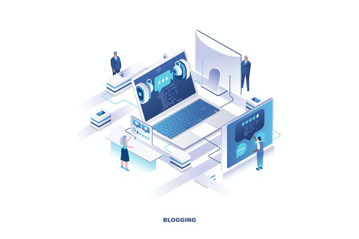 Thumbnail for Blogging Isometric Banner Flat Concept
