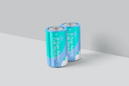 D Type Battery Cell Mockups