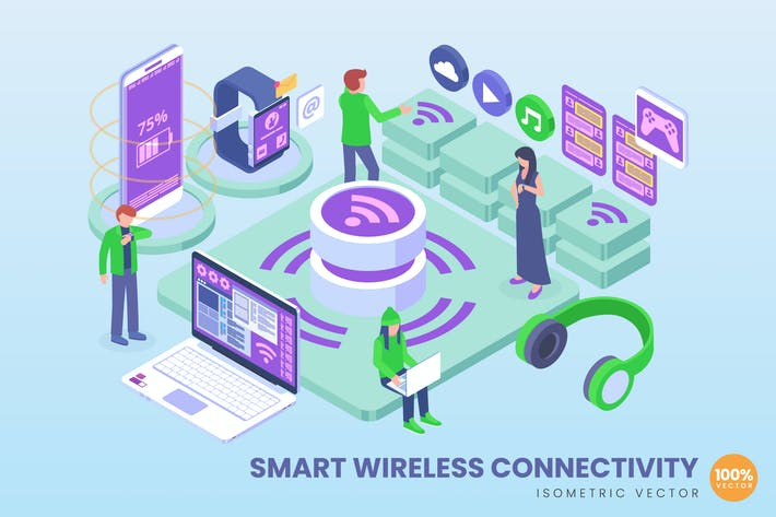 Thumbnail for Isometric Smart Wireless Vector Concept