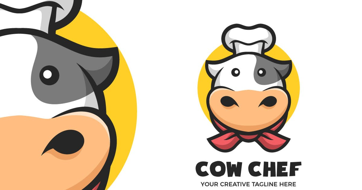 Download Cute Cow Chef Cartoon Mascot Logo Template by MightyFire_STD