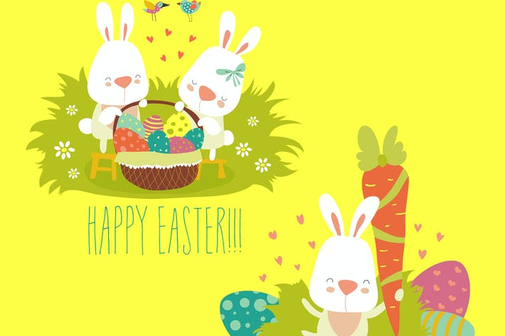 Thumbnail for Vector illustration, collection of Easter bunny