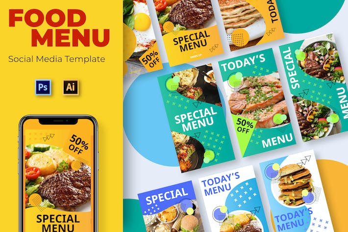 Thumbnail for Food Yellow Social Media Template