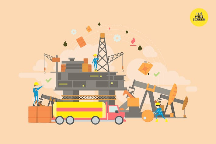 Thumbnail for Crude Oil Production Vector Illustration Concept