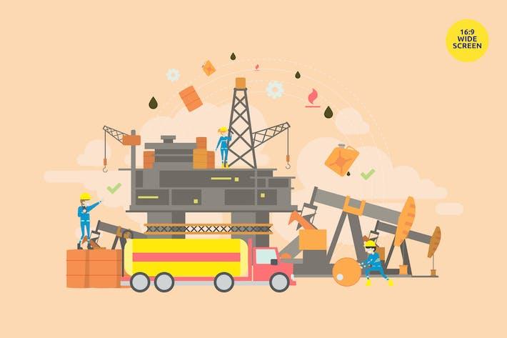 Thumbnail for Rohölproduktion Vektor Illustrationskonzept
