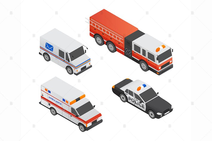 Thumbnail for Special transport vehicles - isometric elements