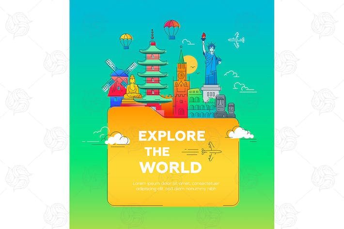Thumbnail for Explore the world - flat design style Illustration