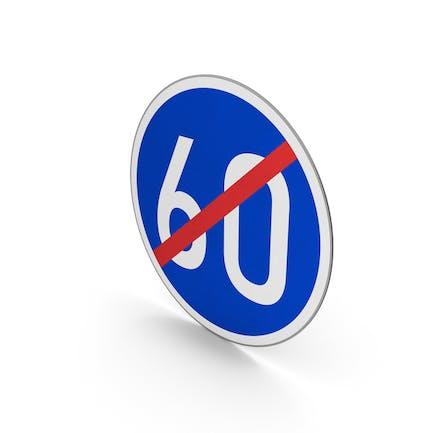 Road Sign End Minimum Speed Limit 60