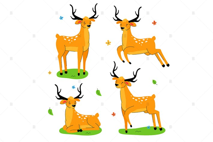 Thumbnail for Cute deer - flat design style set of characters