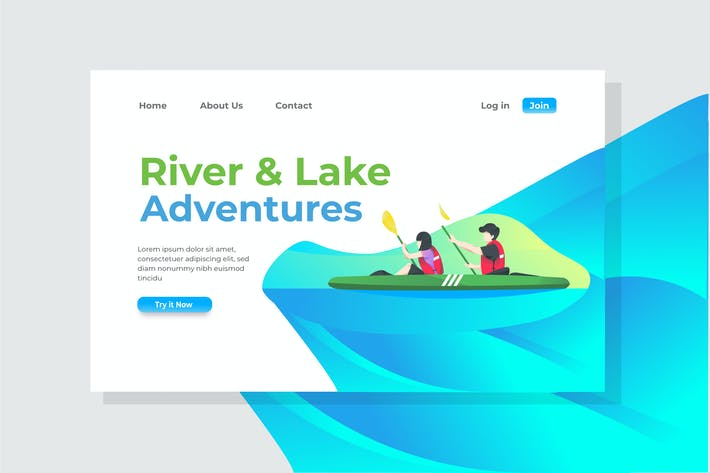 Thumbnail for River & Lake Adventures Landing Page Illustration