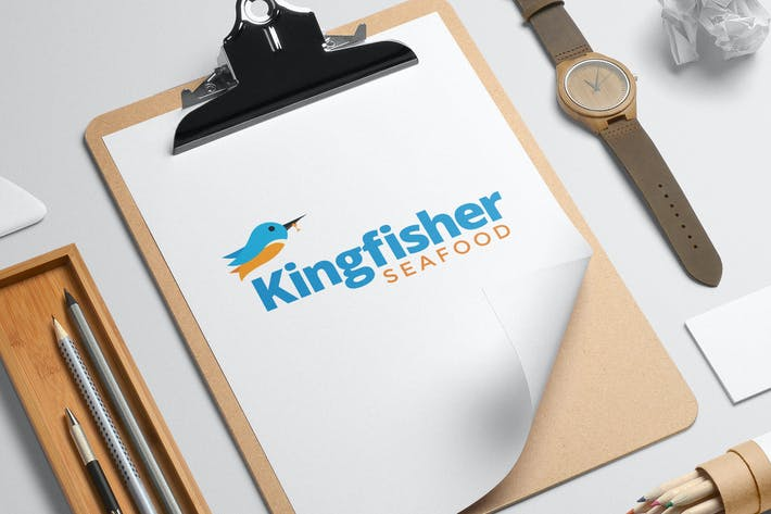 Thumbnail for Kingfisher seafood logo template
