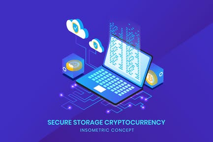 Secure Storage Cryptocurrency - Insometric Vector