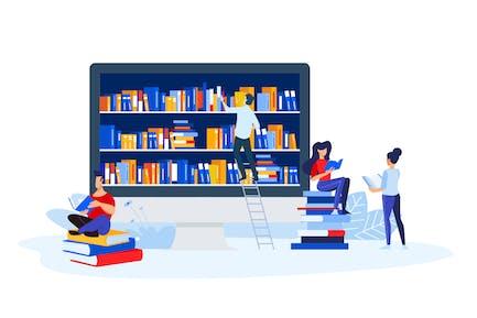 Bibliothek, Buchhandlung und E-Book