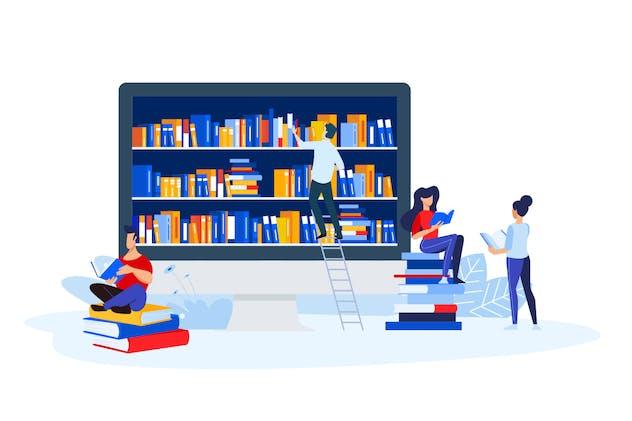 Library, Bookstore and E-book