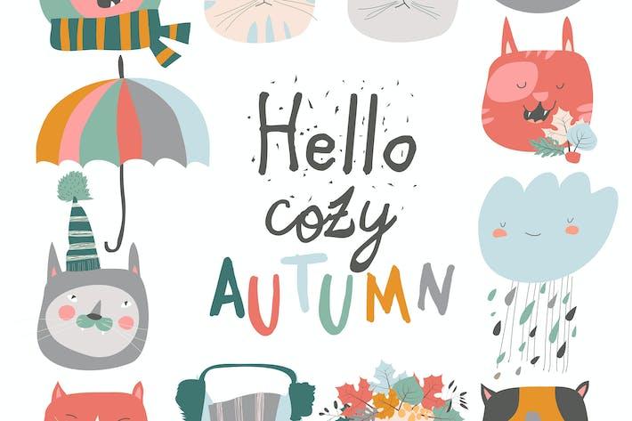 Thumbnail for Niedliche Maulkörbe Katzen mit Herbst-Elementen. Hallo autu