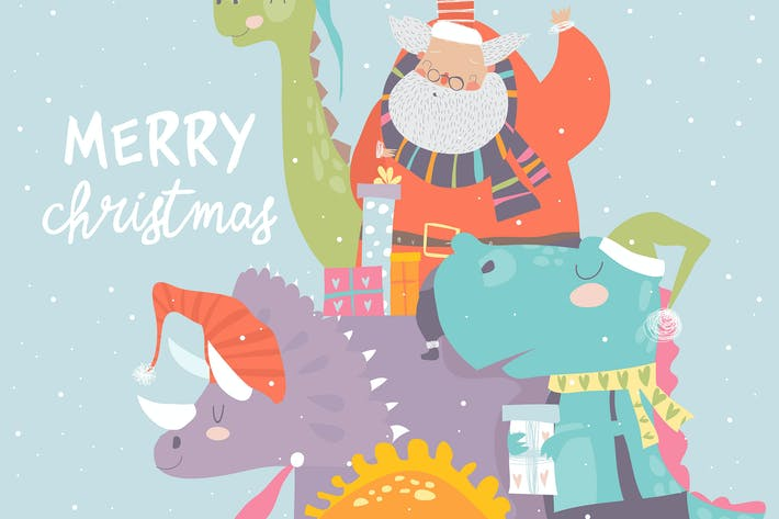 Thumbnail for Cartoon Santa Claus with gifts sitting on dinosaur