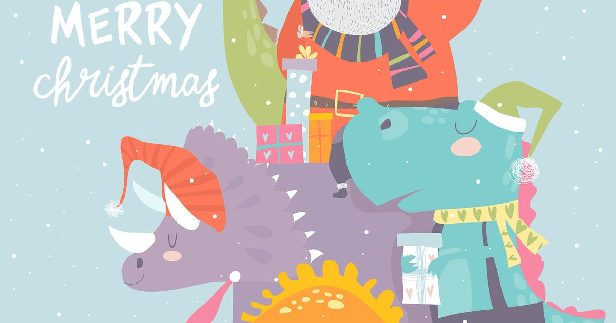 Download Cartoon Santa Claus with gifts sitting on dinosaur by masastarus