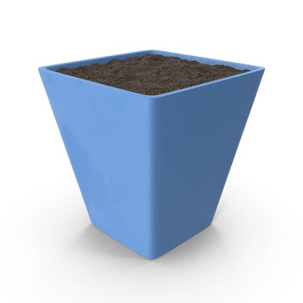 Blue Flower Pot with Soil