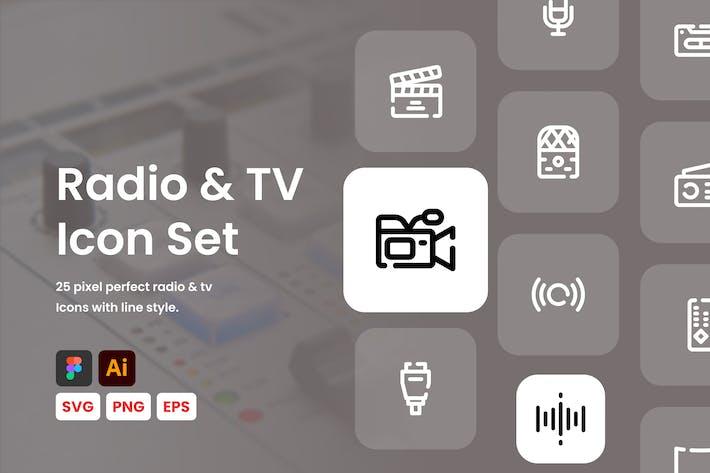 Radio & TV Line Icon Set