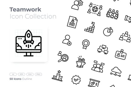Teamwork Outline Icon