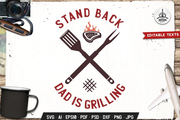 Thumbnail for Dad Grilling BBQ Logo Design Retro Vector Badge