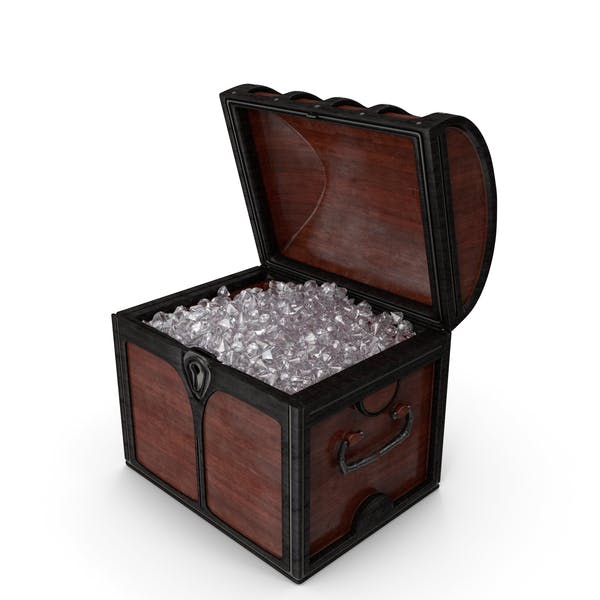 Small Wooden Chest With Crystal Gems