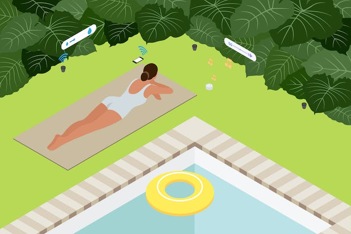 Thumbnail for Smart Home Garden Isometric Illustration