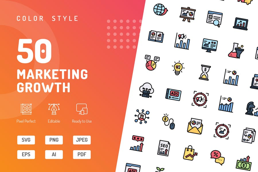 Íconos de color de crecimiento de marketing