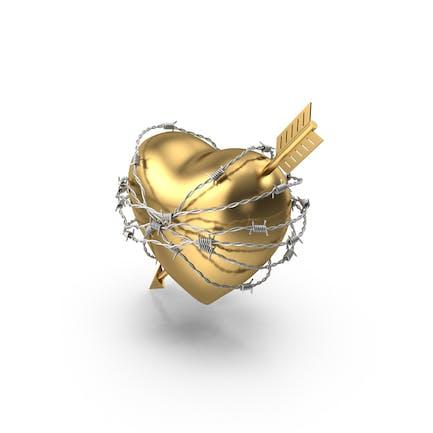 Золотое сердце со стрелой в колючей проволоке