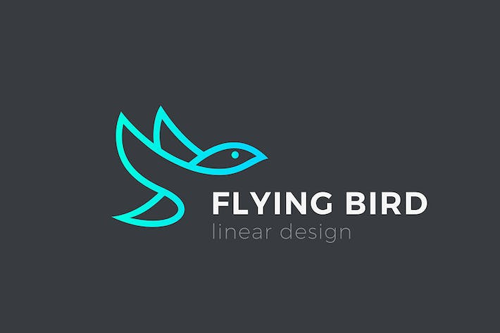 Thumbnail for Logo Flying Bird Eagle Negative space Linear style