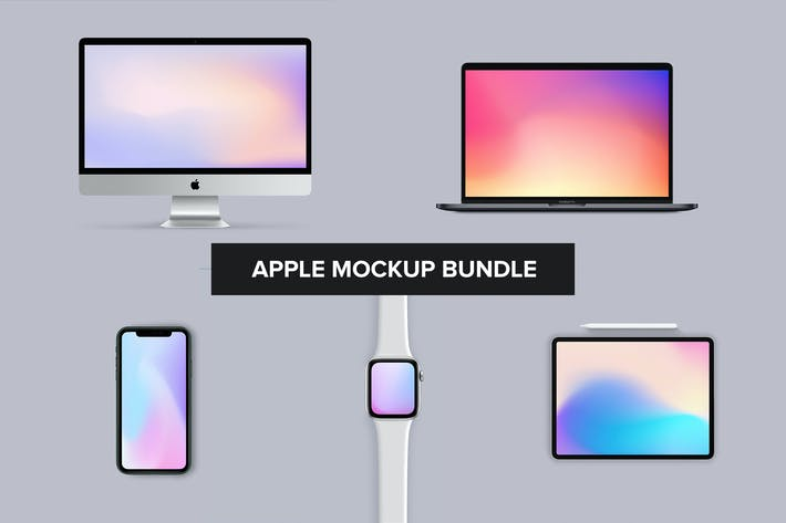 Thumbnail for Apple Mockup Bundle - iPhone, iMac, Watch, iPad