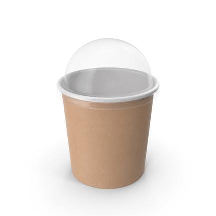 Taza de papel kraft con tapa transparente para postre, 300 ml