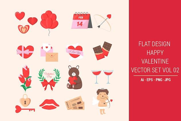 Flat Design Happy Valentine Vector Set Vol. 02