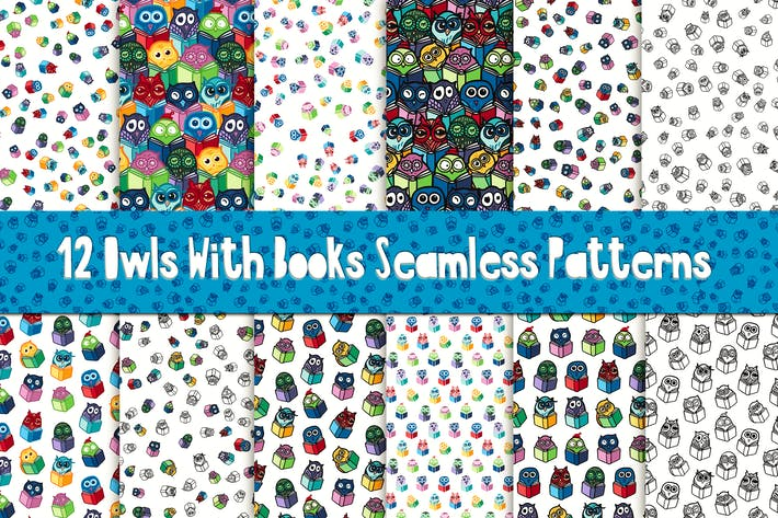 Thumbnail for Fun Eulen mit Büchern Muster