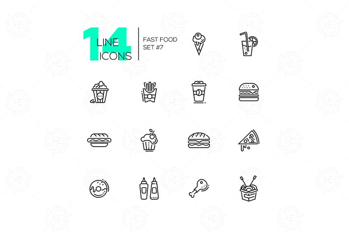 Thumbnail for Fast Food Cafe Menu Icons Set