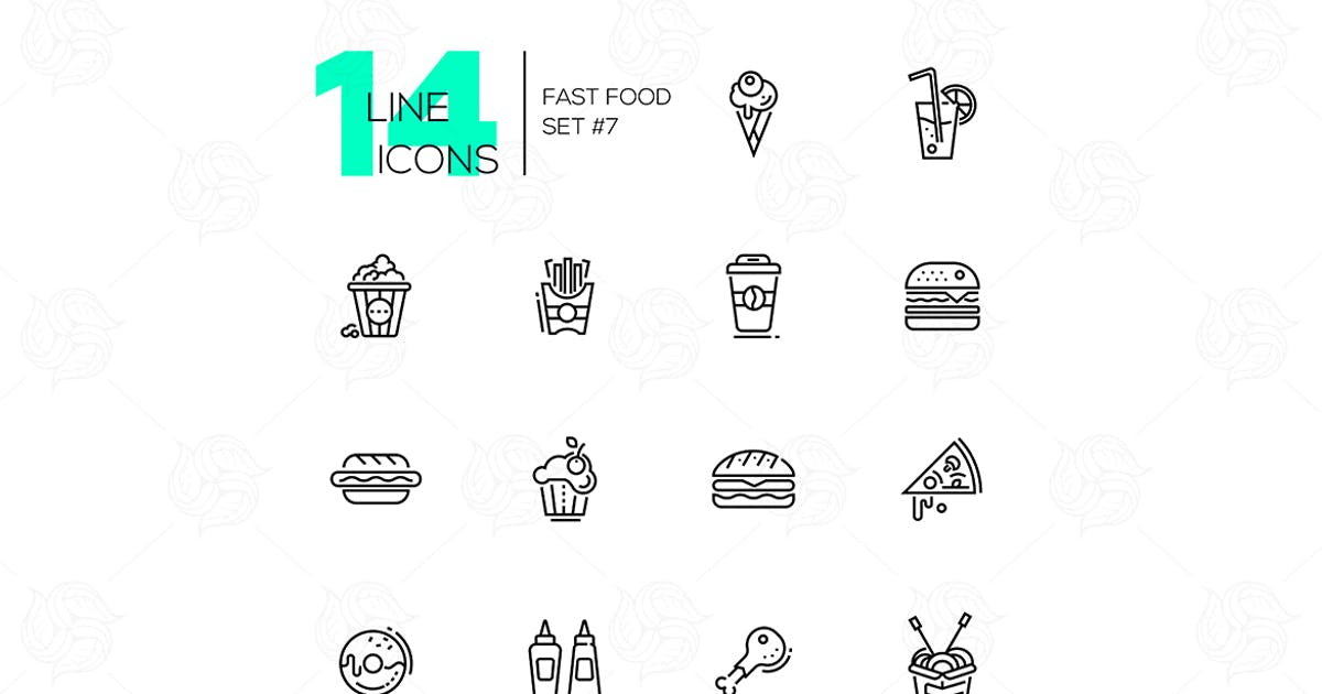 Download Fast Food Cafe Menu Icons Set by BoykoPictures