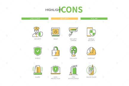 Security - modern line design style icon set