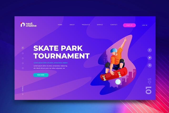 Extreme Skateboarding  Web PSD and AI Template