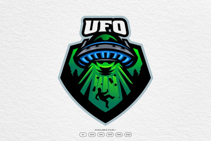 Ufo Alien Movie Spaceship Invaders Logo Template