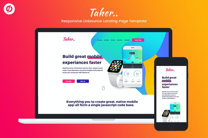 Thumbnail for Taher – Responsive Unbounce Landing Page Template