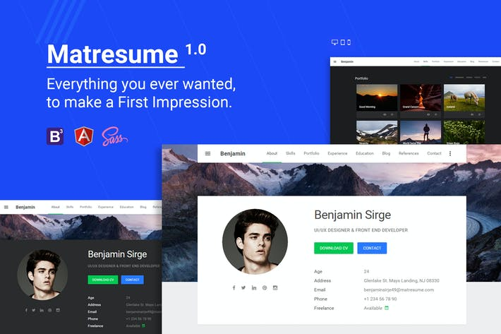 Thumbnail for Matresume - Material Design Resume