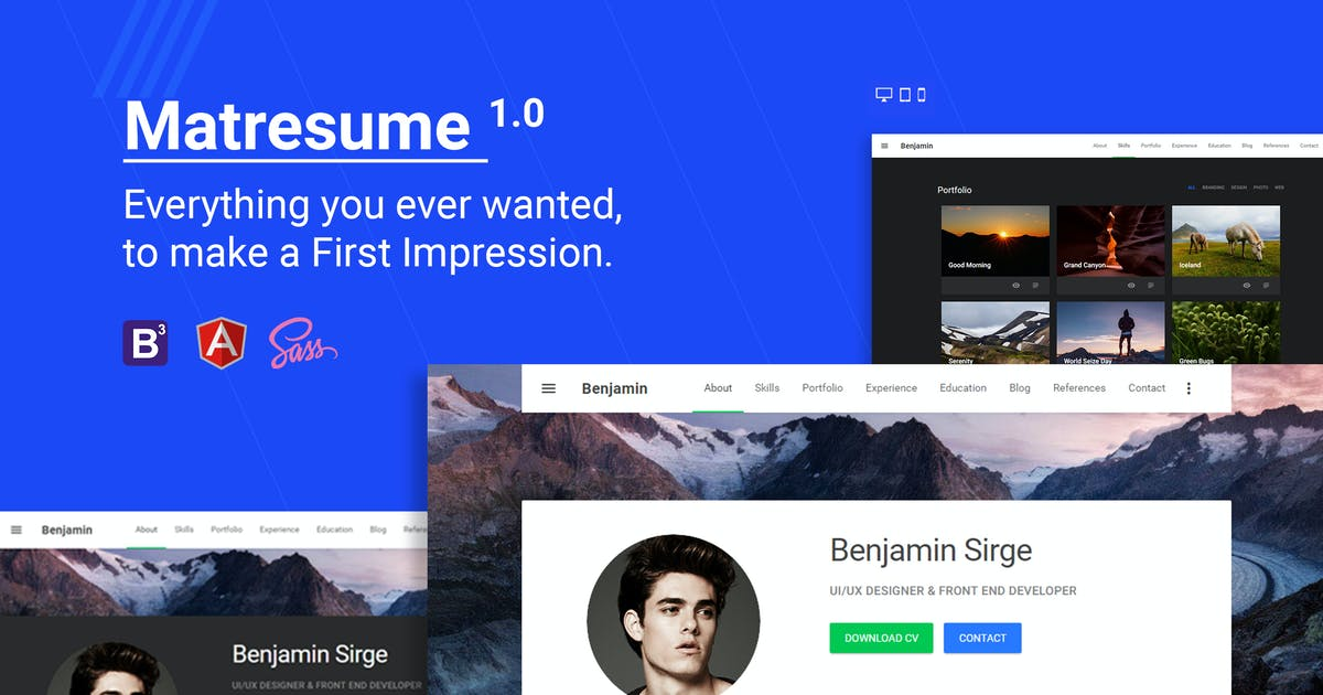 Download Matresume - Material Design Resume by Hencework