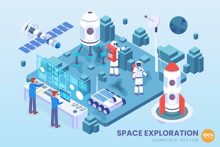 Isometric Space Exploration Technology Vector