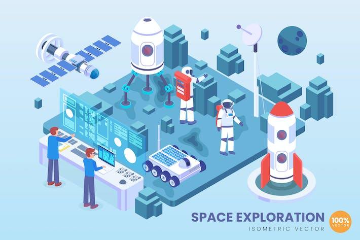 Thumbnail for Isometric Space Exploration Technology Vector