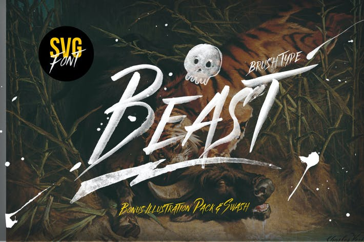 Thumbnail for Beast SVG font & Graphics Pack