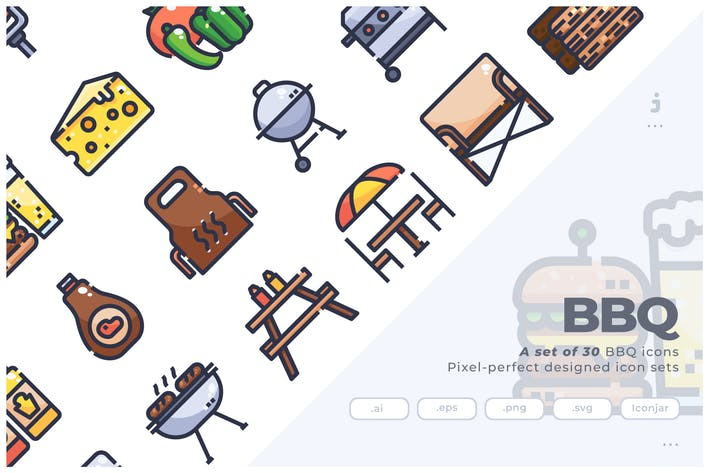 Cover Image For 30 BBQ Icons