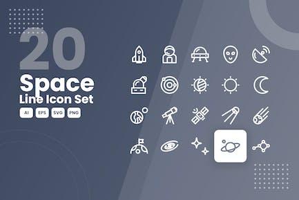 20 Leerzeilen-Icon-Set