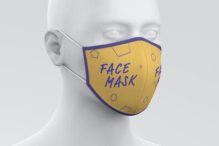 Face Mask Mockup Head Fabric 2