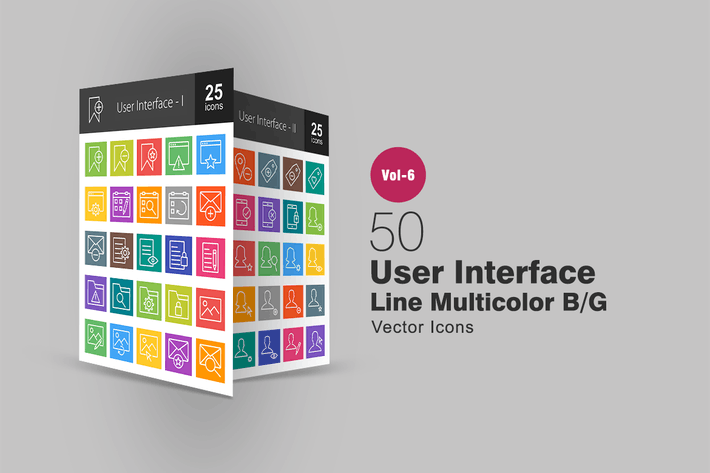 Thumbnail for 50 User Interface Line Multicolor B/G Icons